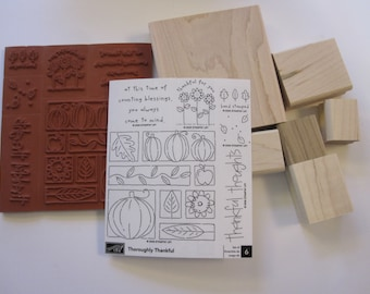 rubber stamp set - Stampin Up THOROUGHLY THANKFUL - 6 rubber stamps, circa 2006 - unused set - Fall, pumpkins, flowers, gratitude