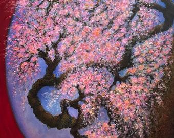 "Moongate & Sakura   Original Oil on Canvas   24""x36"""