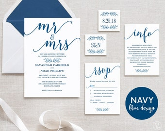 Navy Blue Wedding Invitation, Printable Wedding Invitation Template, INSTANT DOWNLOAD, Editable Text, Modern Calligraphy, Mr Mrs VW11