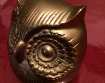 Vintage soild brass owl from the 60's retro Solid Brass Art Paper Weight. Desk Decor Owl Theme Owl Lover