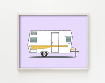 "vintage trailer decor, vintage camper decor, mid century modern art, mid century modern decor, wall art prints, purple - ""Aristocrat Camper"""