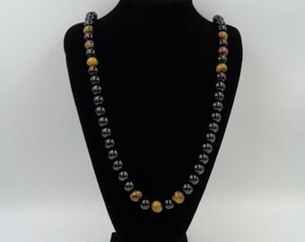 14mm Black Onyx & Tiger Eye Round Beads Necklace
