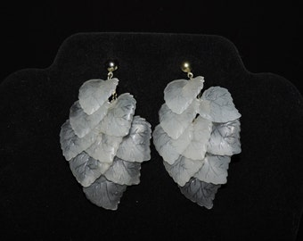 Translucent Leaves Cascade Earrings - Post