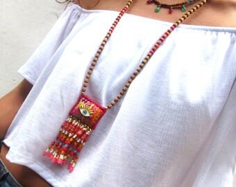 Beaded tassel necklace, bohemian sandalwood necklace, long tribal evil eye necklace, Hmong textile boho necklace, ethnic necklace, OOAK
