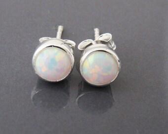 Opal Stud Earrings, Sterling Silver Opal Earrings,  October Birthstone Earrings, Bridesmaid Stud Earrings