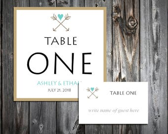 Arrow 25 Table Numbers and 250 place settings.  Personalized & printed Reception guests table decorations.