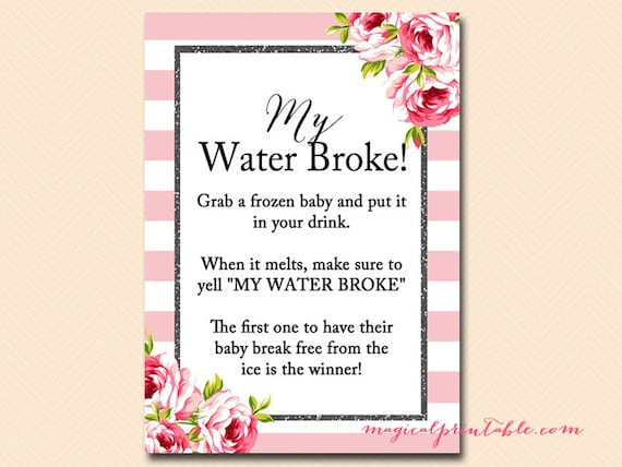 Marvelous My Water Broke Frozen Baby Ice Cube Game Pink Stripes Black