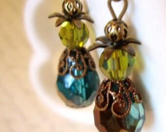 Turquoise Drop Earrings - Sparkling Teal Czech Glass Teardrops and Olive Green Swarovski Earrings - Antiqued Filigree Brass Earrings