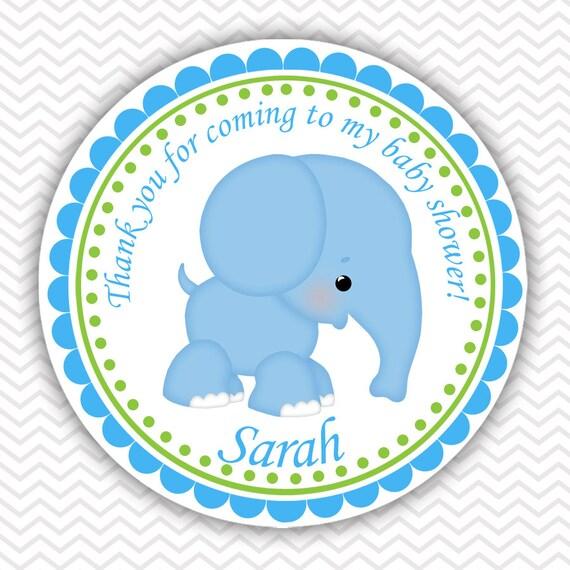 Elefante Azul Pegatinas Personalizadas Etiquetas Favor De