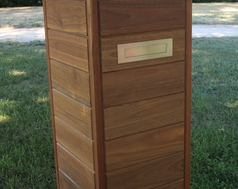 Solid timber / wooden Letter box in Spotted Gum. - Neptune