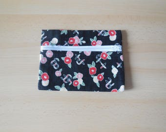 Cotton pouch and black Japanese traditional fabric with red Camellia