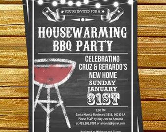 Housewarming bbq party invitations | printable housewarming party invitations | New Home Announcement | DIY Party Invitation