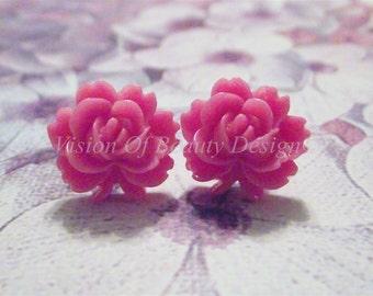 Pink Vintage Style Rose Stud Earrings