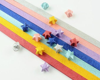Floral Embossed Origami Lucky Star Paper Strips - Pack of 70 strips