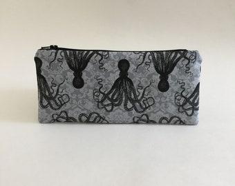 Octopus Bag / Damask / Makeup Bag / Pencil Case / Travel Bag / Zipper Pouch / Bag / Gift / Pouch / Octopus / Tentacle / Dice Bag / Ocean