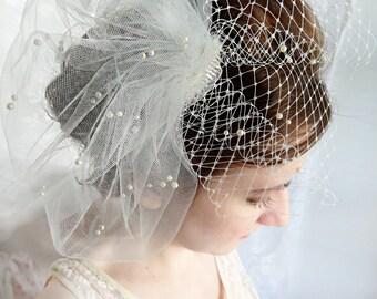 wedding birdcage veil, wedding bird cage veil with pearls, ivory or white tulle veil - JOLICOEUR - bridal hairpiece, small bridal birdcage