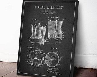 1928 Poker Chip Set Patent, Poker Print, Casino Print, Casino Decor, Canvas Print, Wall Art, Home Decor, Gift Idea, GT28C