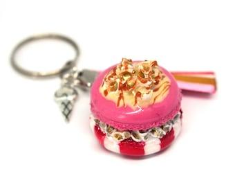 Macaron Keychain gourmet caramel popcorn