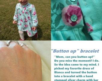 Button bracelet, tassel bracelet, personalized bracelet, custom made bracelet, mother's day gift, dainty bracelet, simple bracelet