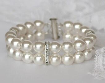 Pearl Bridal Bracelet, Swarovski Pearl Bracelet, Pearl Wedding Cuff, Pearl Bridal Jewelry, Bridesmaid Bracelet