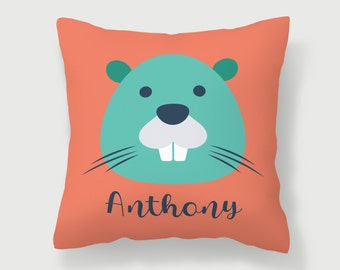 Woodchuck Pillow, Nursery Decor, Animal Pillow, Custom Throw Pillow, Groundhog Pillow, Bed Pillow, Playroom Pillow, Kids Room Decor, Beaver
