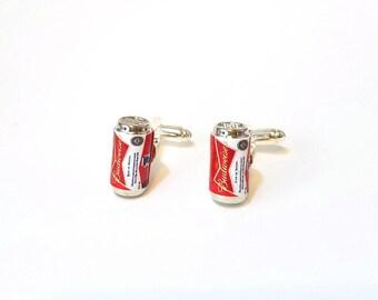 Budweiser Beer Can Cufflinks-Miniature food drink cufflinks, mini food jewelry, mini beer can, cufflinks,drinks