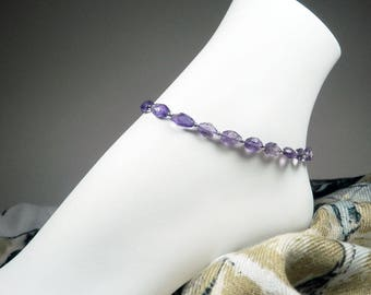 "Amethyst Ankle Bracelet - Purple Bracelet - Gemstone Anklet - Purple Anklet - Girls Size - Plus Size - 7"", 8"", 9"", 10"", 11"", 12"", 13"""
