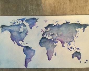 World Peace: Original Watercolor Map Painting
