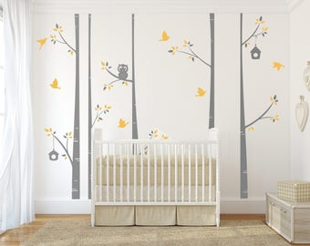 Modern Birch Tree Decal Set -birch tree decal, nursery birch decal, tree wall decal, five Birch Trees, Vinyl Wall Decal, owl wall decal