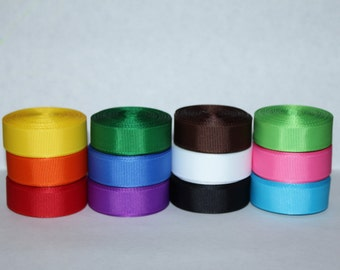 "5/8"" (16mm) Solid Grosgrain Ribbon Lot (Choose 1 or 2 Yards Each of 12 Colors)"