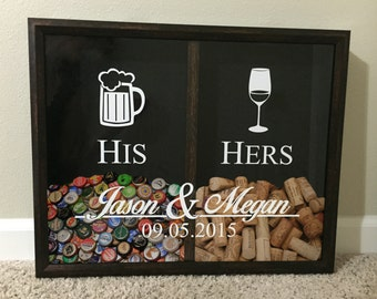 His and Hers, Mr and Mrs Wine Cork and Beer Cap Tab Holder, Wedding Anniversary Gift Personalized