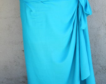Turquoise Dark turquoise blue color-Pareo-solid color-full and half sized-rayon- sarong-lower price