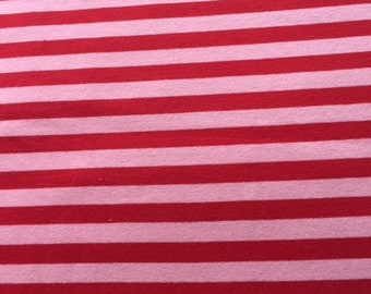 Red and PInk Stripe Cotton Lycra Knit