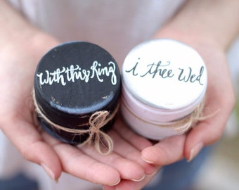 Calligraphy Ring Bearer Box | Wedding Ring Boxes | Rustic Wooden Ring Boxes | His and Her Ring Box with Burlap, With this Ring I Thee Wed
