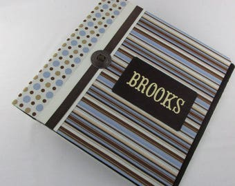 Boy Baby Book Personalized baby Photo Album brown blue polka dot Scrapbook baby shower gift pregnancy journal 4x6 5x7 8x10 Pictures