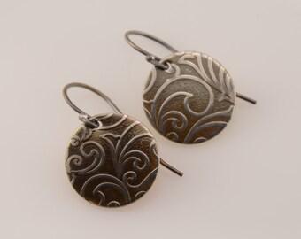Small disc earrings. Patina disc earrings. Dainty sterling silver earrings.