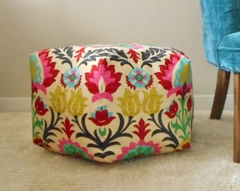 Pouf Ottoman - Floor Pillow - Moroccan Foot Stool, Seat, Floral Pouf