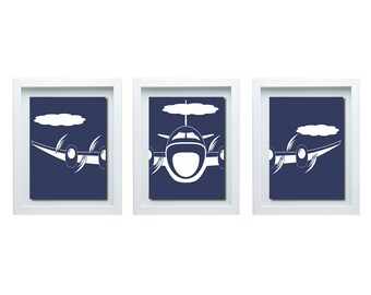 ON SALE- Boy Bedroom Decor, Blue White Decor, Aviation Art, Airplane Art, Boys Room Decor, Living Room Decor, Living Room Wall Art