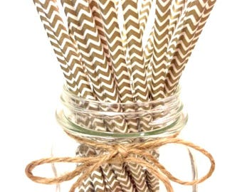 25 GOLD chevron paper straws - // baby bridal shower decorations // candy dessert buffet table // wedding // First birthday/new year party