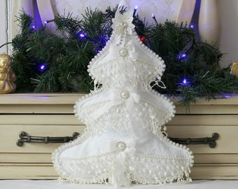 Sale!, White Christmas Tree, Shabby White, White Christmas Tree Decorations, Hanging Christmas Tree, Fabric Christmas Tree