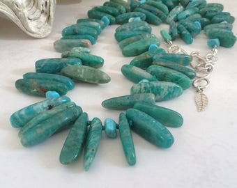 Russian Amazonite Stone Spike Collar Statement Knotted Necklace