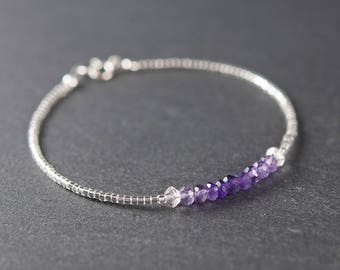 Amethyst Bracelet, Delicate and Dainty Gemstone, Seed Bead and Sterling Silver Stacking Bracelet