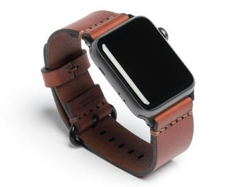 Full Grain Leather Simple Apple Watch Band - Medium Brown | Wickett & Craig® | Made in USA
