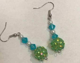 Green ball earrings