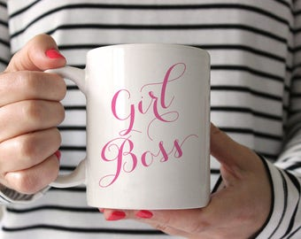 Girl Boss Mug, Gift for Boss, Entrepreneur Gift, Quote Mug, Boss Gift, Home Office Decor, Cute Office Supplies Cute Office Decor, Design 005