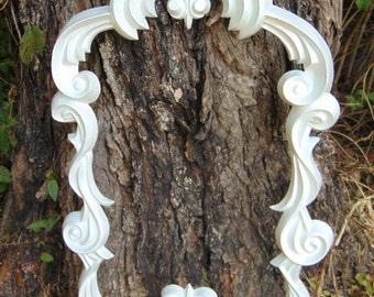 Baroque Mirror, Swirl Mirror, White Mirror, Ornate Mirror, Vanity Mirror, Nursery Mirror, Size 30 x 19