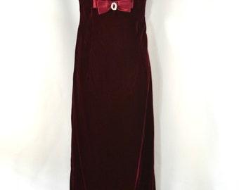 1980s Cranberry Velvet Sleeveless Formal Empire Waist Dress, Maxi Dress, Holiday Party, Christmas Wedding