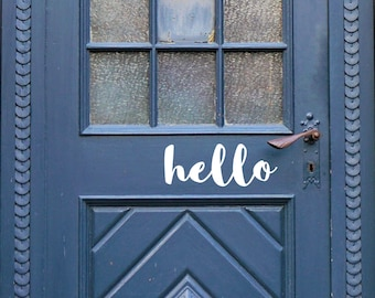 Hello Vinyl-Front door decal-House letters for Front Door-Porch Sayings-Door Decal-Entryway Decor-Hello Sticker