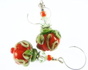 Orange Lampwork Earrings, Halloween Earrings, Glass Bead Earrings, Pumpkin Beaded Earrings, Glass Bead Jewelry, Lampwork Jewelry