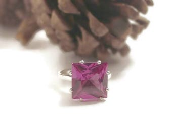 Stunning Alexandrite Ring, Color Changing Stone, Ring With Big Stone, Set In Sterling Silver